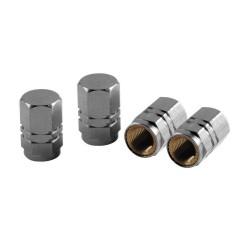 Tapones valvula cromados de aluminio