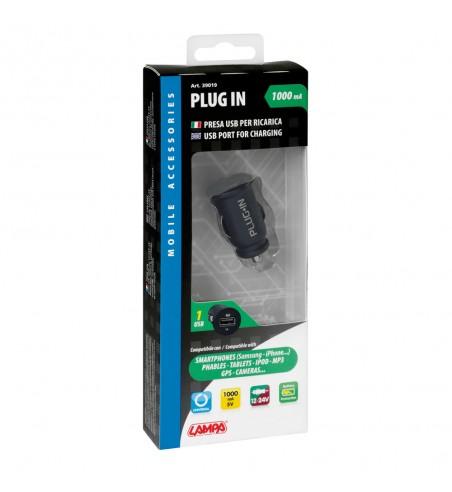 Enchufe mechero Plug-in 1 USB indicador led 1000mA 12/24V