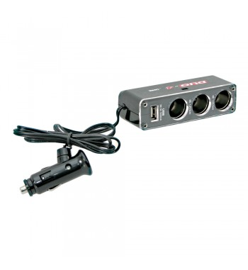 Adaptador enchufe mechero DUO-4 tomas 1 USB