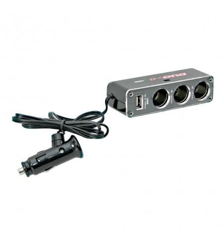 Adaptador enchufe mechero DUO-4 tomas 1 USB