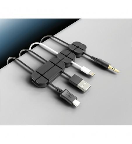 Organizador de cables 3 tamaños con base adhesiva