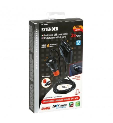Cargador 4 puertos USB carga rápida 7800 mA cable 180 cm