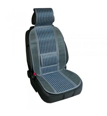 Respaldo asiento en fibra de bambú natural con refuerzo lumbar azul